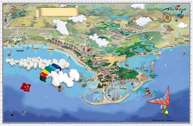 Карта с достопримечательностями рядом с Сиде