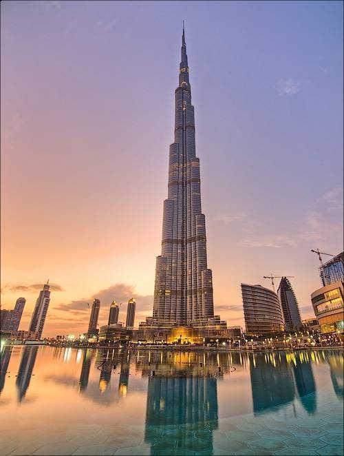Фото самое высокое здание в мире небоскреб Бурдж Халифа в Дубае на закате
